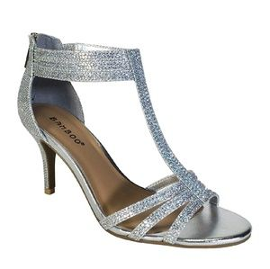 Bamboo Silver T-Strap Heels  8.5 M